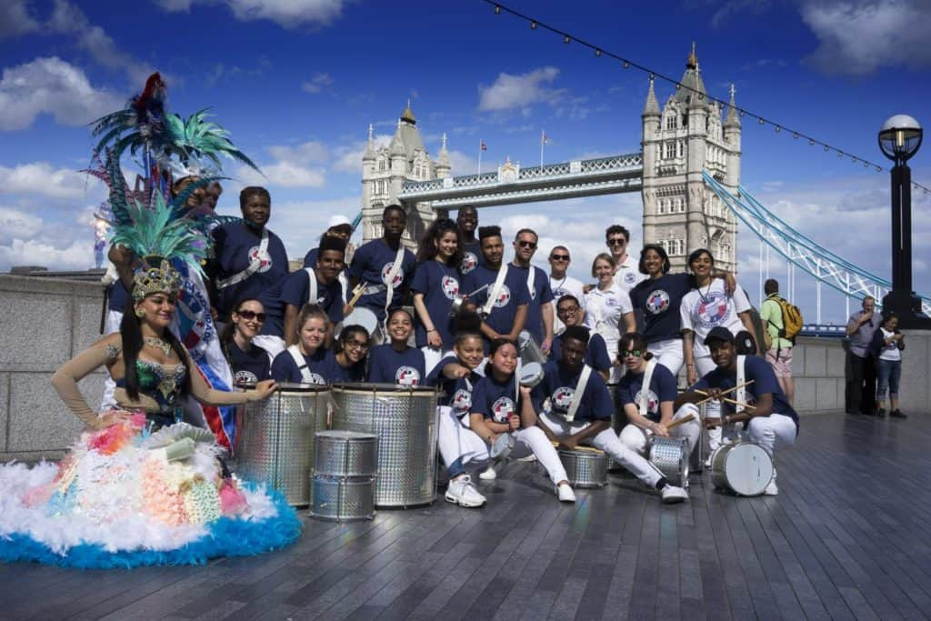 UDMSamba, TheScoop @MoreLondon, Uniao da Mocidade, Youth samba London, Porta Bandeira, Mestre Sala, Bateria , Samba Drummers, Tower Bridge