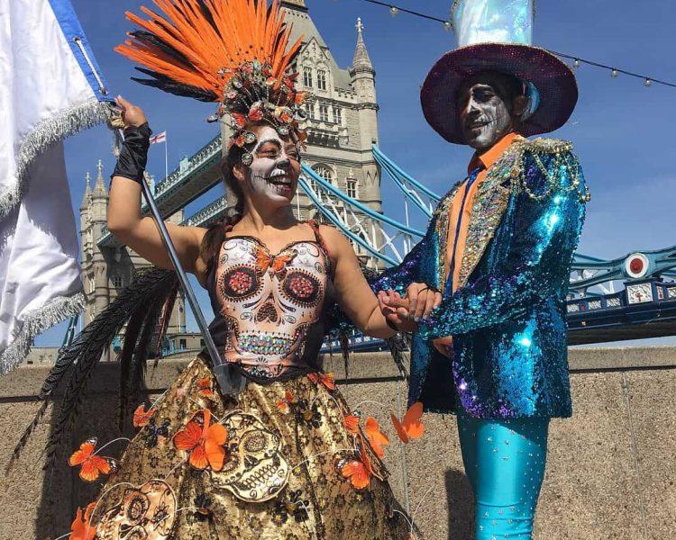 UDMSamba dancers, Tower Bridge, Mestre Sala Porta Bandeira